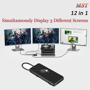 Usb-Hub Thunderbolt Dock-Station Laptop Type-C Dual-Hdmi RJ45 VGA PD for MST