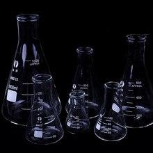 Колба из боросиликатного стекла Erlenmeyer, плотная коническая треугольная колба с узким горлом, лабораторное химическое оборудование, 50-1000 мл, 1...