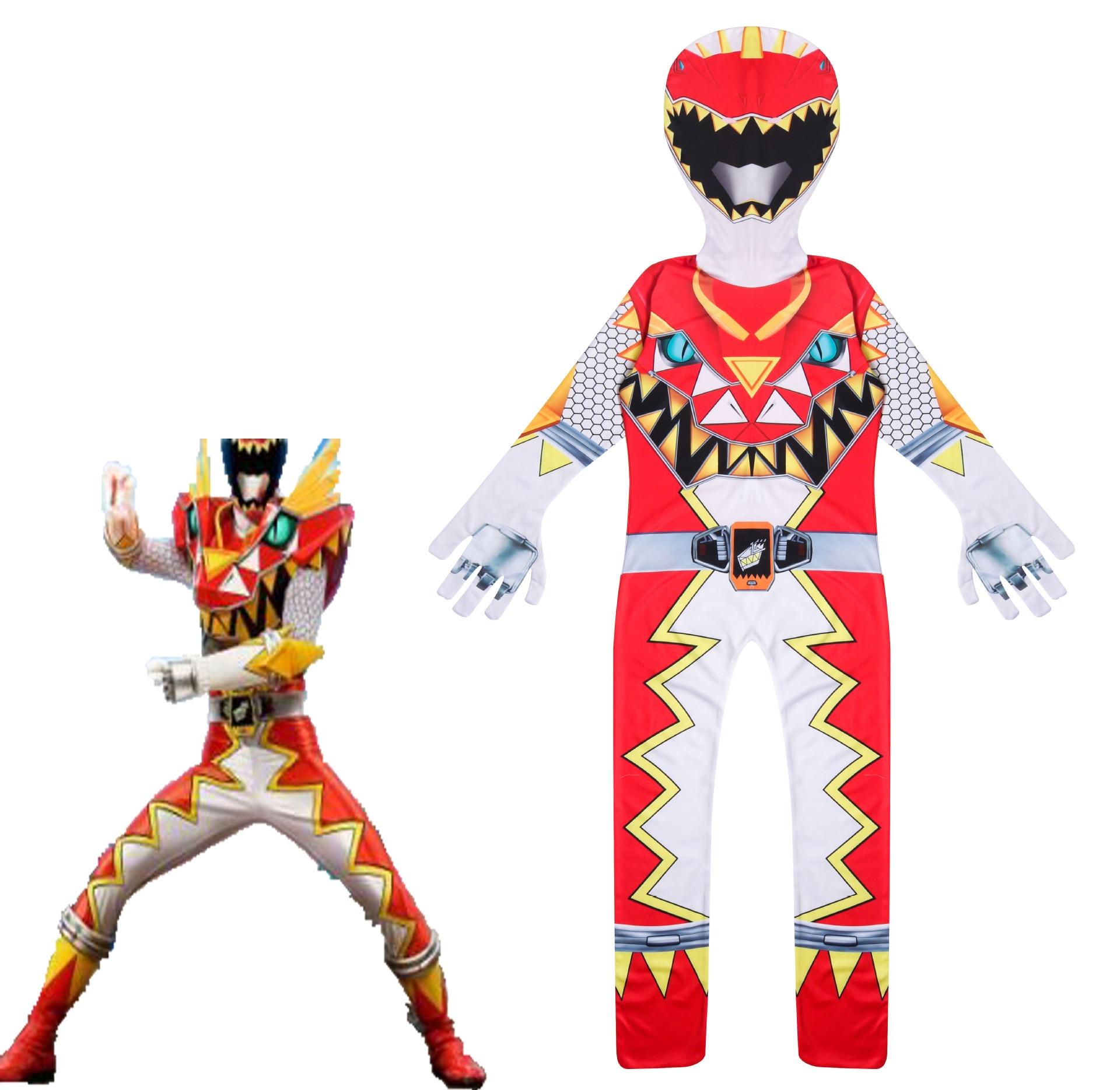 Boys Cosplay Jumpsuits Halloween Costumes Extraordinary Power Mecha Five Beast Super Action Figures Rangers Battle Team Force