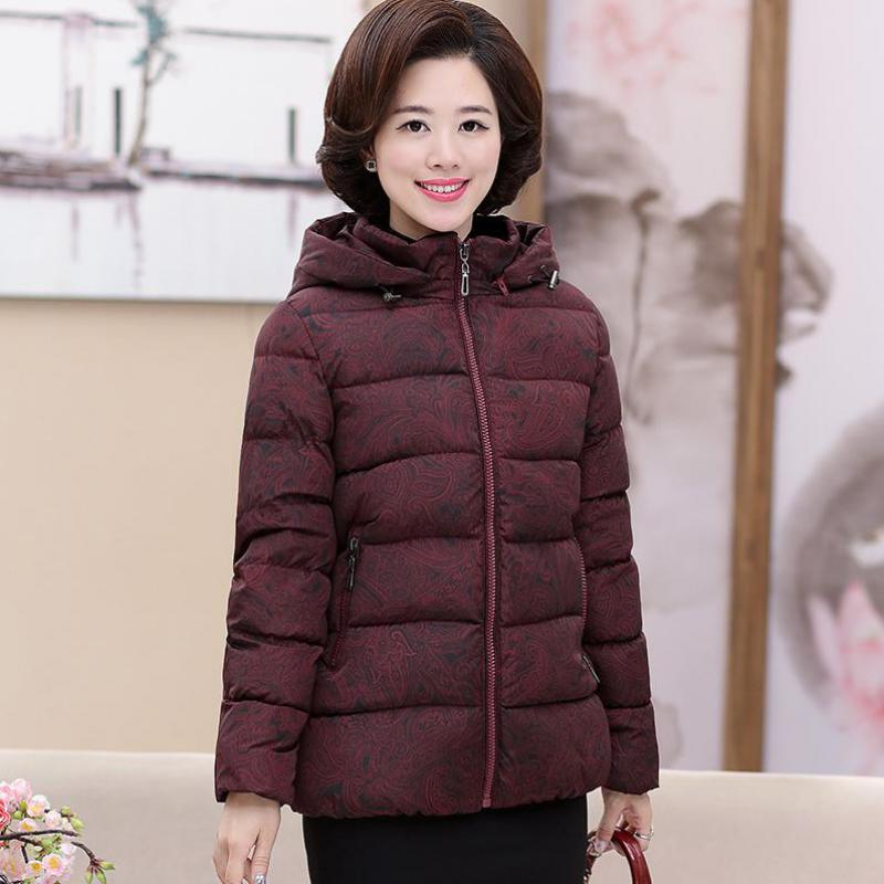 Fashion Hooded Down Jacket Women 2019 Korean Slim Autumn Warm Jacket Middle Aged Winter Coats Printed Jackets Black 5XL 4XL 3XL