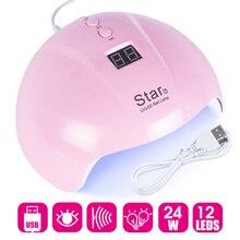 Secador de uñas para todo tipo de geles, lámpara UV LED de 24W con luz solar USB, miniequipo de secado de uñas artísticas, LAStar7 1