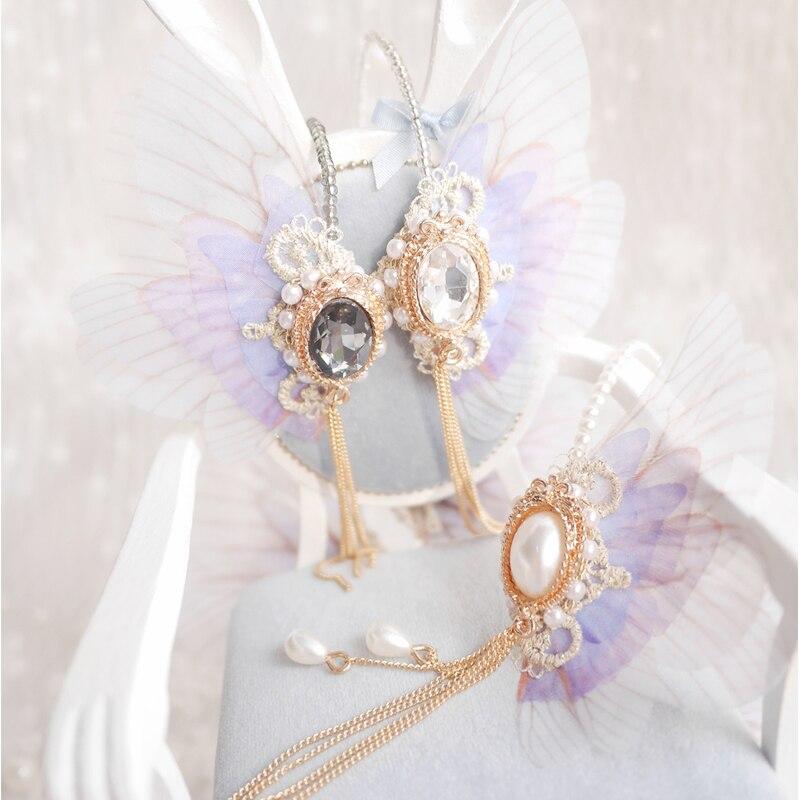 NEW White Gold/Silver Black Elf Style Wings Headwear 1/3 BJD SD DD Doll Accessories