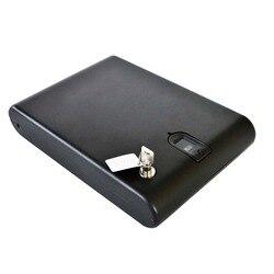 Vingerafdruk Veilige Pistool Doos Massief Staal Security Key Kostbaarheden Sieraden Doos Portable Security Biometrische Vingerafdruk Kluizen Strongbox