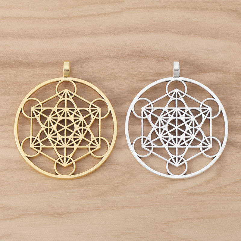 5pcs Antique Silver Tone Merkaba Meditation Charms Pendants Jewelry Findings