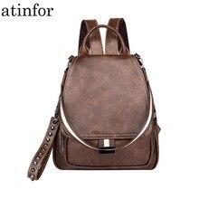 Atinfor العلامة التجارية النساء حقيبة جلدية خمر حقائب الظهر محفظة سيدة حقائب كتف برشام