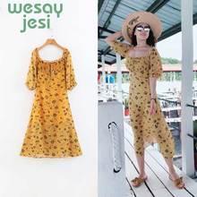 Dress Womens Yellow 2019 fashion Summer Bohemian Dresses Ladies Short Sleeve Beach Party print Sundress