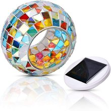 Solar powered color changing mosaic ball garden lights rechargeable