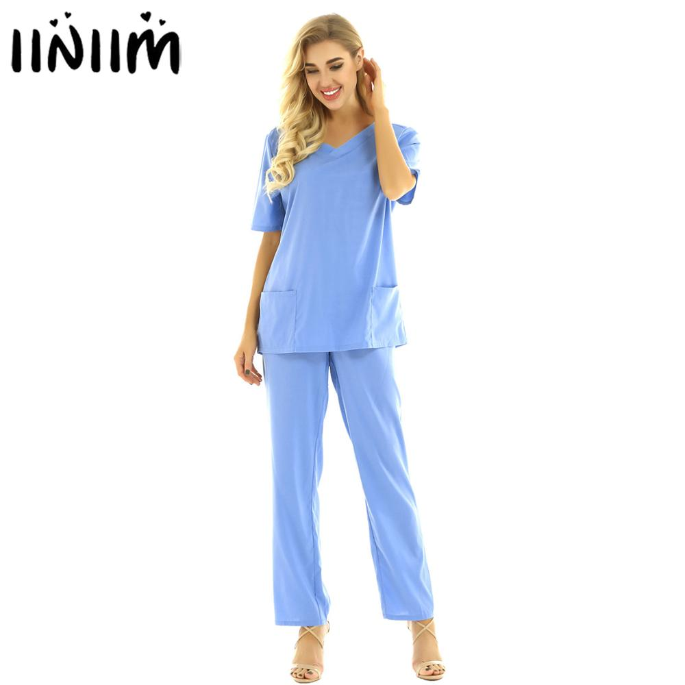 Iiniim Unisex Adults Medical Doctor Nursing Scrubs Costume Uniform Work Suits Short Sleeves Top With Elastic Waisted Long Pants