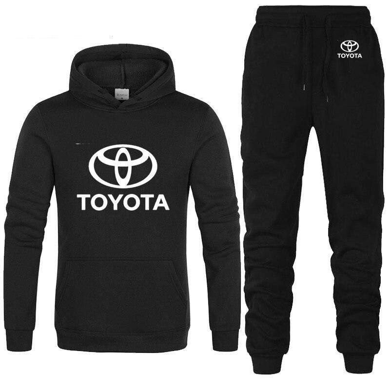 Hoodies Men Toyota Car Logo Printed Unisex Sweatshirt Fashion Men Hoodie Hip Hop Harajuku Casual Fleece Hoodies Pants Suit 2Pcs