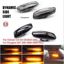 Динамическая мигающая Led Боковой габаритный фонарь поворота светильник для Citroen C4 Picasso C3 C5 DS4 Peugeot 308 207 3008 5012 индикаторная лампа