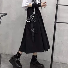 High Waist Loose A-line Skirts women Chain Side Ring Pocket Midi Long Hip Hop Black Skirt
