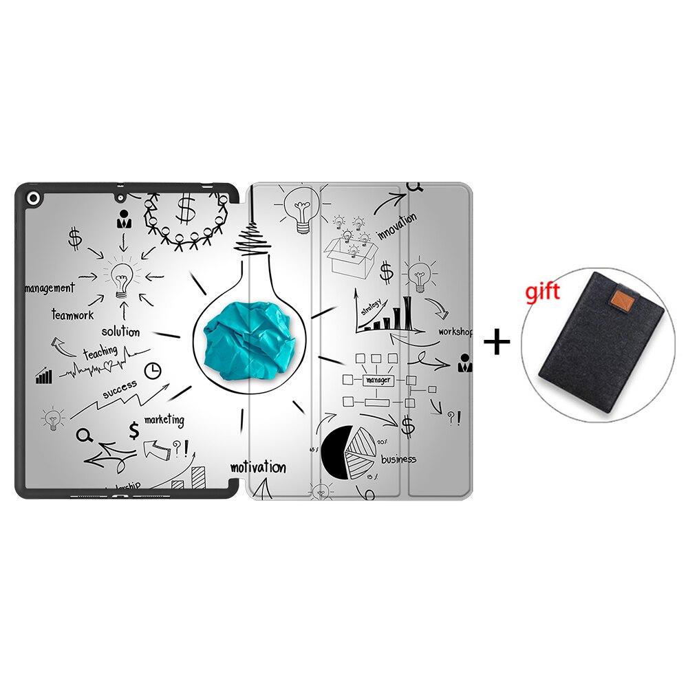 IPTPU06 Black MTT Case For iPad 10 2 inch 7th 8th Generation 2020 Soft TPU PU Leather Flip