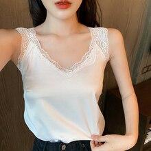 Summer Tops Satin Lace White Plus-Size Women's Sleeveless XXXXL Silk for V-Neck Female