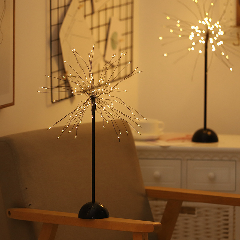 100 LED Battery flash Copper wire Night light Christmas Fire Tree USB Table-Lamp for Home Holiday indoor kids Decor fairy lights