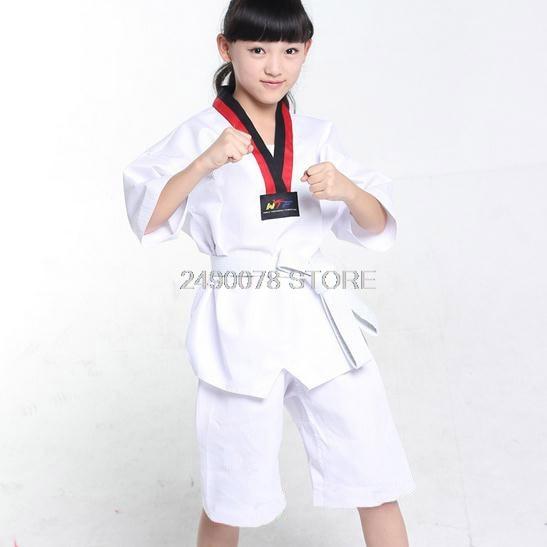 Children Kimono Judo Kickboxing Practice Costume White Kids Boys Girls Taekwondo Suit Karate Tae Kwon Do Clothes F106 4