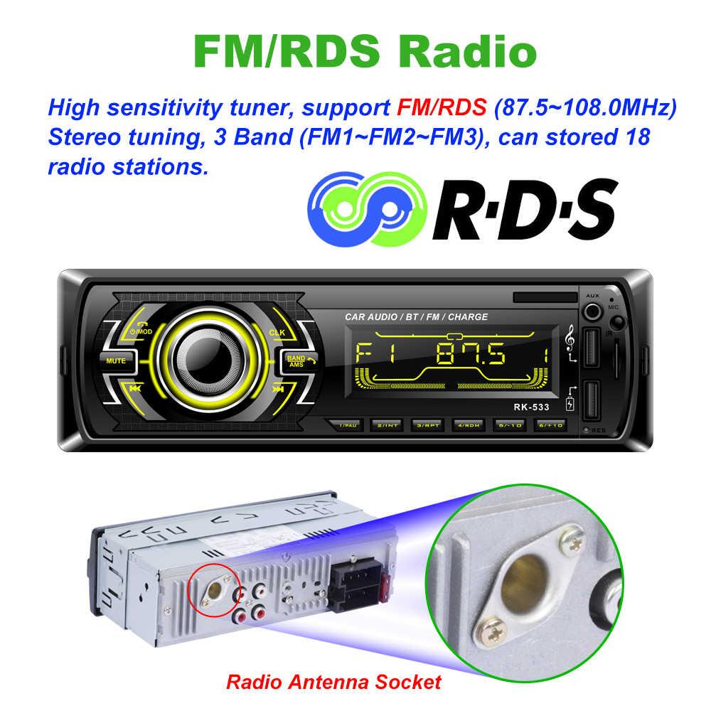 Fabrik RK-533 12V universal 1 Din Auto Radio FM Feste panel Europa heißer RDS Auto radio MP3 player Bluetooth SWC Remote freisprecheinrichtung