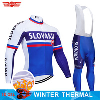 2019 Team Slovakia Cycling Jersey 9D Set MTB Uniform Bike Clothing Mens Winter Thermal Fleece Bicycle Clothes Cycling Wear