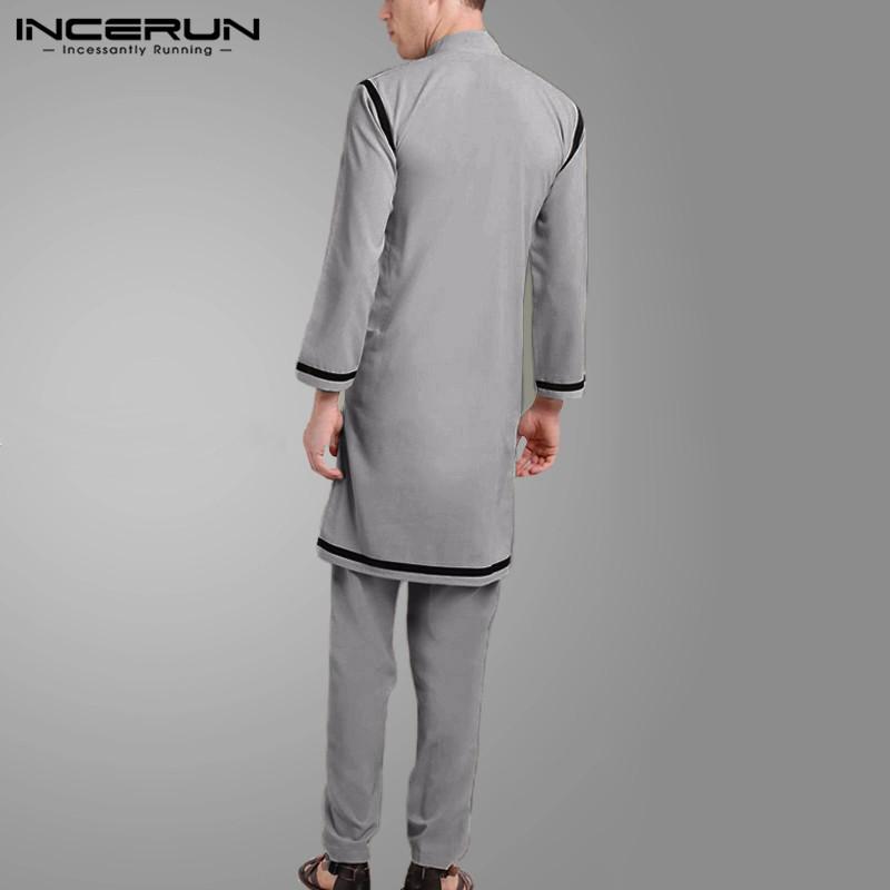 Vintage Muslim Kaftan Suits Men Leisure Solid Color Patchwork Sets Fashion Loose Button Blouse Elastic Pants Suits INCERUN S 5XL
