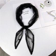 Lace Scarf Hair-Tie Foulard Kerchiefs Head-Wrap Black White Green Women Silk Neck Pink