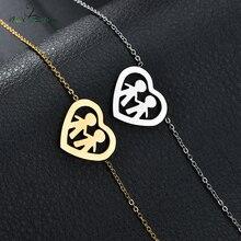 Nextvance Семья любовь два ребенка сердце браслет из нержавеющей стали для женщин золотой цвет Pulseira Feminina любовник обручальные ювелирные изделия