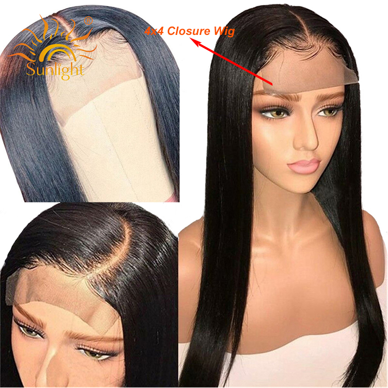 Brazilian 4x4 Closure Wig Straight Human Hair Wigs For Black Women Pre Plucked Wigs Sunlight Deep Part Remy 4x4 Lace Closure Wig