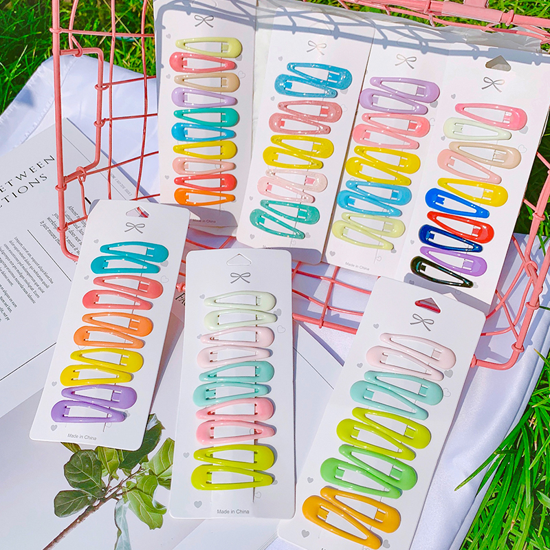 10PCS/Set Girls Sweet Colorful Water Droplets Hairpins BB Clips Children Cute Hair Clips Headbands Kids Fashion Hair Accessories