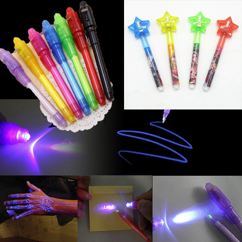 Star Head Luminous Light Pen Magic Purple 2 In 1 UV Black Light Combo Drawing Invisible Ink Pen Educational Toys For Children
