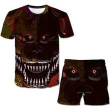 Summer Kids 3D Printed Freddy 5 Night Pattern T-Shirt Set Summer Boys T-Shirt Set Girls Top + Shorts Set