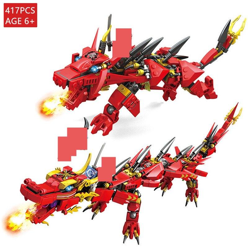 417Pcs Fire Dragon Knight Blocos Define legoinglys 2 Padrões Figuras Bricks Brinquedos Educativos para Crianças