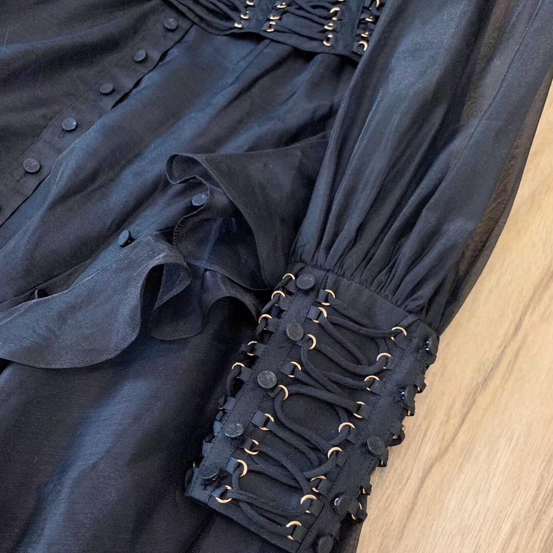 赤 RoosaRosee デザイナー女性のセクシーな包帯秋パーティードレススタンド長袖非対称フリル黒ドレスローブフェムセクシー