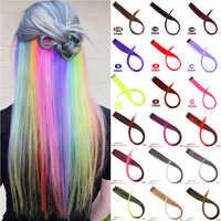 MUMUPI długie proste włosy spinka do przedłużania włosów w podświetleniu tęczowe włosy smuga różowe syntetyczne pasma włosów na klipsach