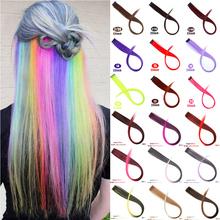 MUMUPI długie proste włosy spinka do przedłużania włosów w podświetleniu tęczowe włosy smuga różowe syntetyczne pasma włosów na klipsach tanie tanio Wysokiej Temperatury Włókna 2 cali z 1 klipsami Ombre