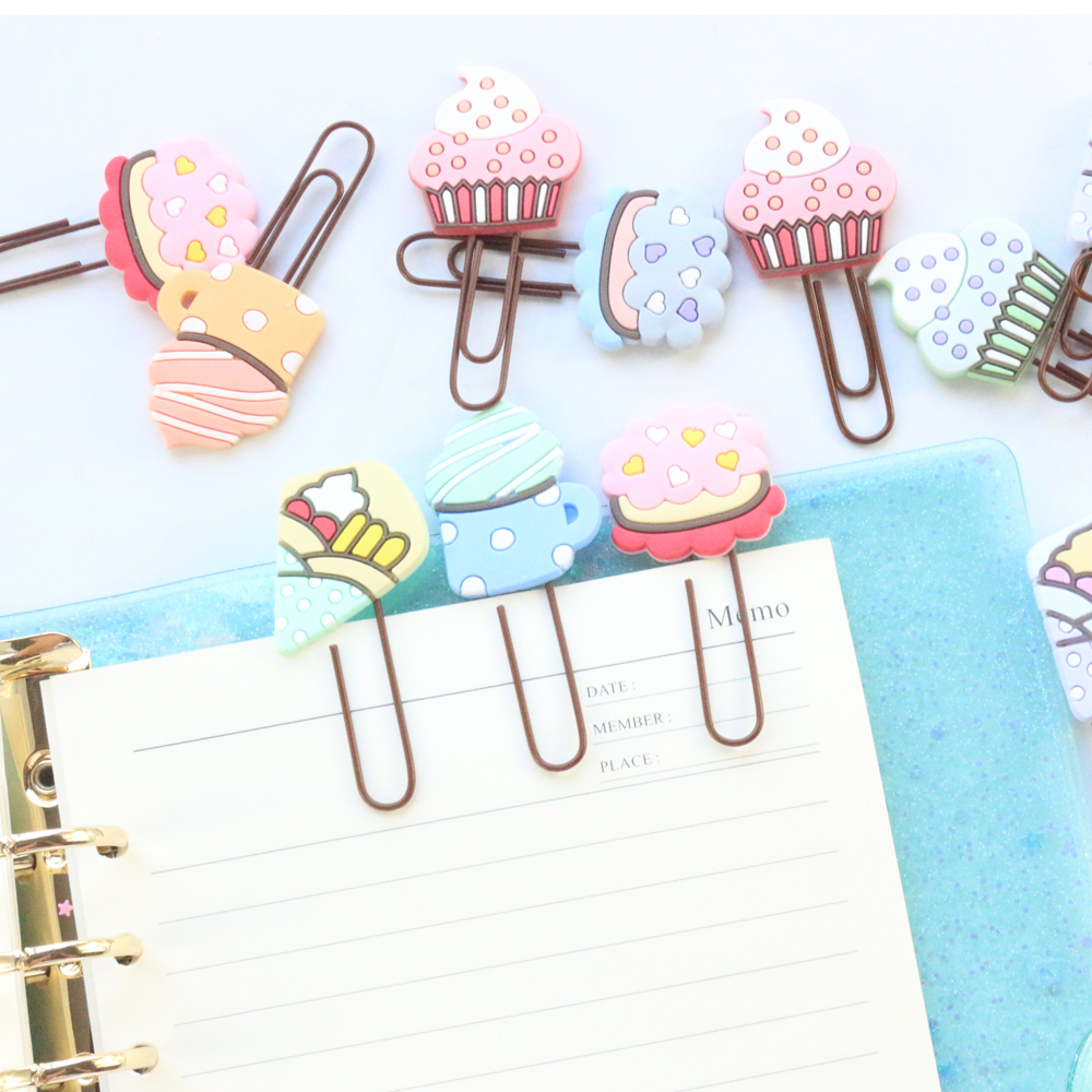 Domikee Cute Creative Cartoon Ice Cream Shape School Student Paper Clips Set Kawaii Kids Bookmarks Stationery Supplies 4pcs