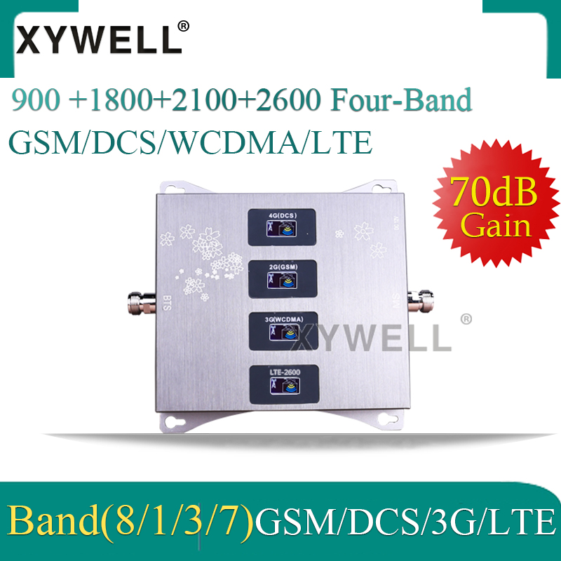 900/1800/2100/2600mhz Four-Band Cellular Amplifier 4G 3G GSM Phone Signal Booster GSM DCS WCDMA LTE 2G 3G 4G Cellular Repeater