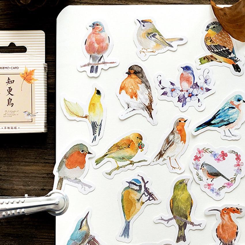 45pcs/box Kawaii Animals Robin Diary Mini Paper Sticker Decoration DIY Scrapbooking Sticker Stationery Children Gift