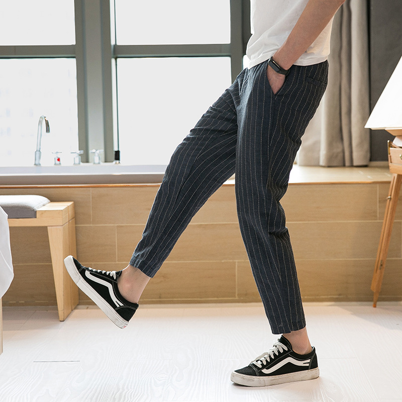 Summer Thin Section Chinese-style Men Linen Pants Large Size Cotton Linen Capri Pants Stripes Loose-Fit Baggy Pants Men'S Wear