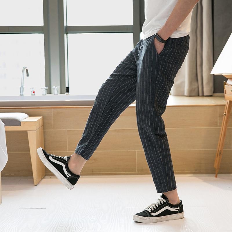 Summer Thin Section Chinese-style Men Linen Pants Large Size Cotton Linen Capri Pants Stripes Loose-Fit Baggy Pants Men'S Wear