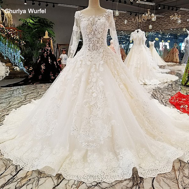 LS00297 Vestido De Noiva Casamento Backless Flowers Lace Ball Gown Ivory Organza Royal Train Luxury  Wedding Dresses Real Photos