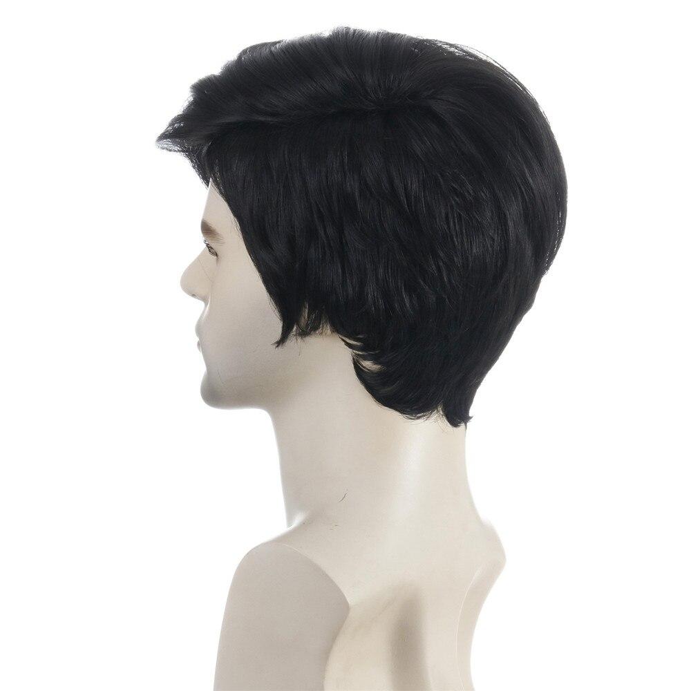 Peruca masculina curta natureza peruca sintética preta