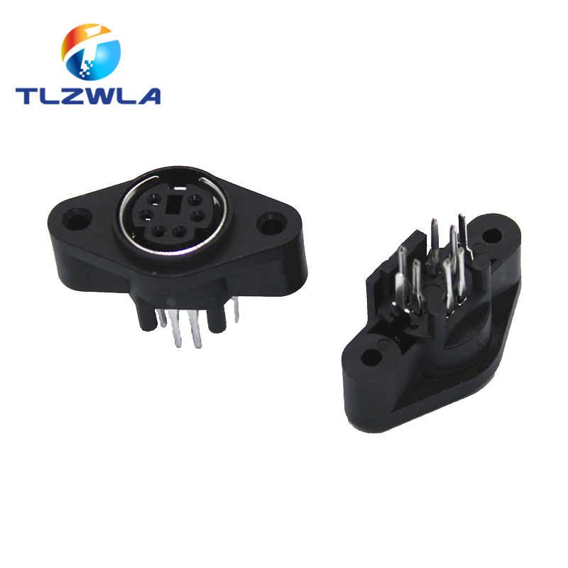 2PCS/Lot MDC/S Terminal Socket DIN Jack Connector Mini PS2 6Pin 6P With Fixed Hole Mouse Keyboard