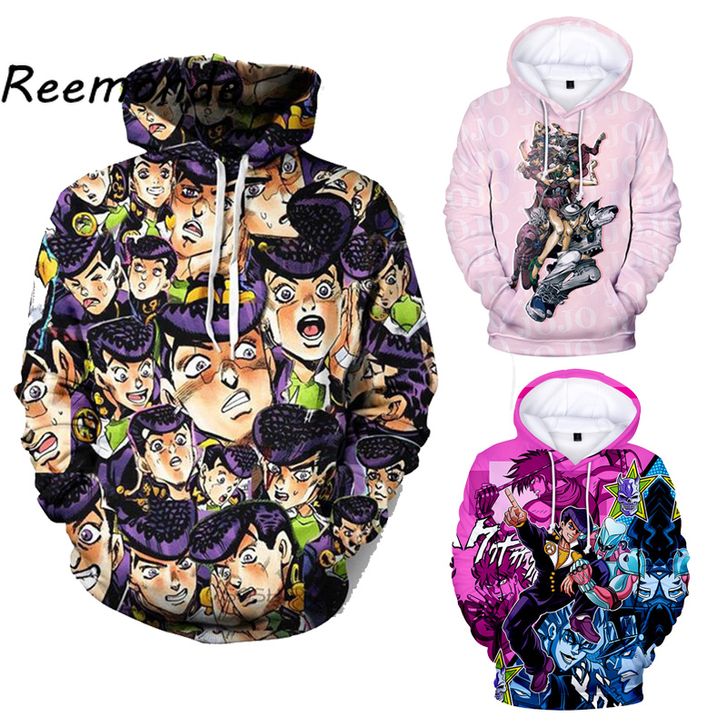 Anime JOJO Bizarre Adventure Costume Hoodies Sweatshirts Mens JOJO Cosplay Harajuku Hoodies Boys Hip Hop Hooded Coat Pullover