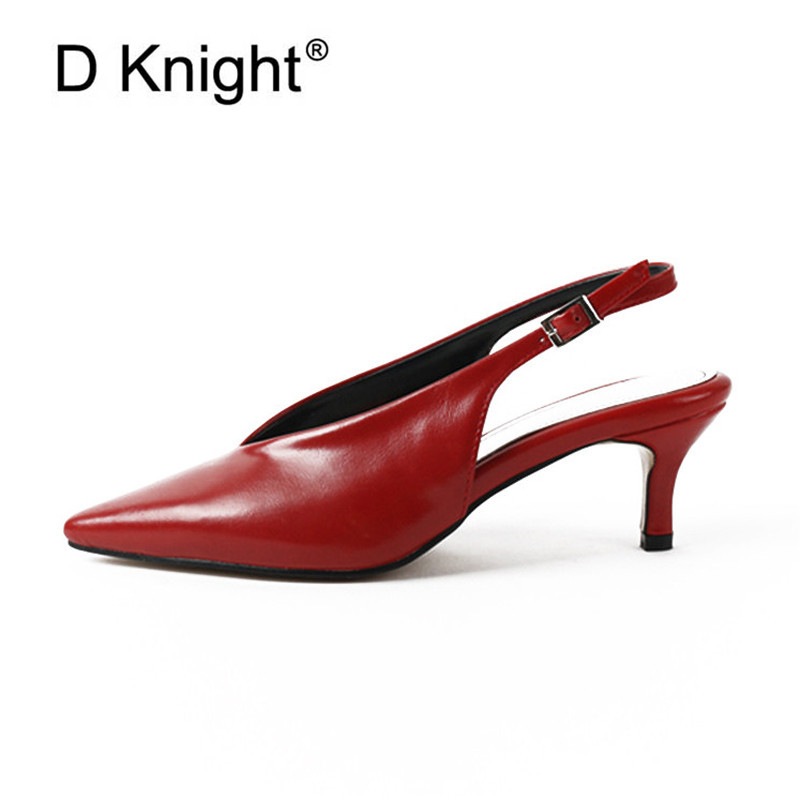 New Big Size Woman' <font><b>s</b></font> Sandals <font><b>Sexy</b></font> V-Mouth Party Buckle Strap Female High Heels Footwear Fashion Ladies Shoes Back Strap Pumps image
