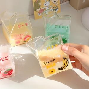 380ml Kawaii Milk Glass Cup Creative Square Clear Milk Carton Water Bottle Wholesale Cute Fruit Heat Resistant Breakfast Cups