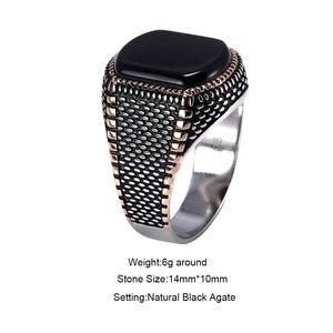 Image 2 - ตุรกีเครื่องประดับสีดำแหวนผู้ชาย น้ำหนัก6G 925เงินสเตอร์ลิงแหวนบุรุษแหวนหินธรรมชาติVintage coolแฟชั่น