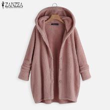 Cardigan Coat Outerwear Jackets Fleece Plus-Size Sweatshirt Hoodies Solid-Button Long-Sleeve