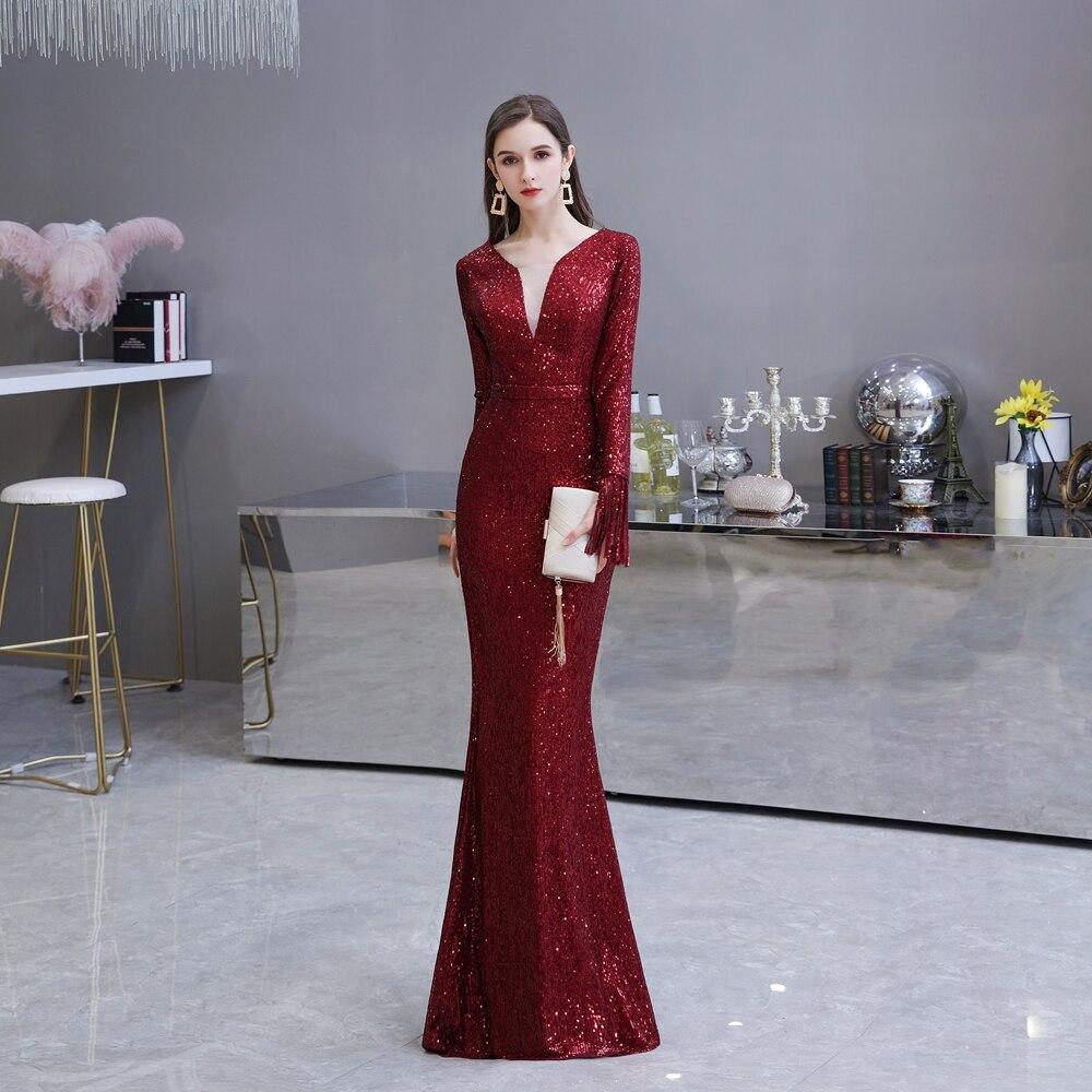 Burgundy Prom Dress 2020 V Sheer Neck Mermaid Tassel Full Sleeves Sequin Elegant Long Women Party Evening Gown Walk Beside You