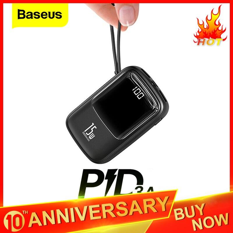 Baseus Mini 10000mAh Power Bank USB C PD Portable Charger Small 10000 Powerbank For IPhone 11 Xiaomi Mi Samsung External Battery