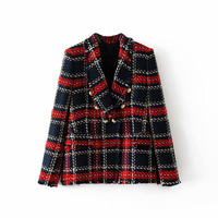 Fashion Za Vintage Women Patchwork Plaid Tweed Jacket Double Breasted Pocket Long Sleeve Female Coat Casaco Femme Blazerfenimino