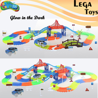 Magic Track Glowing Railway Car DIY Flexible Bend Magical Track Road Kits Flash Light Rail Car Assembly Toys Gifts For Children
