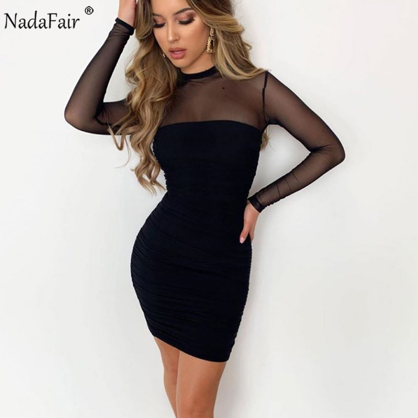 Nadafair Sexy Mesh Dresses Long Sleeve O Neck Ruched Transparent Autumn Winter Basic Black Bodycon Dress Women